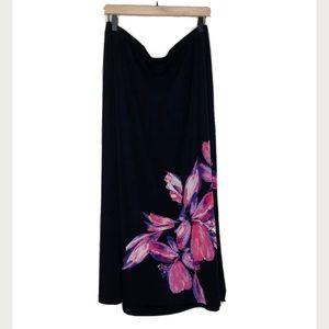 Avenue VIP Knits Plus Size Black Floral Maxi Skirt